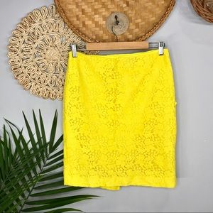 Ann Taylor  Bright Yellow Floral Lace Pencil Skirt